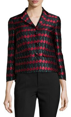 RED Valentino Cherry-Print Button-Front Jacket, Black $750 thestylecure.com