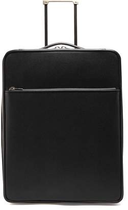 Valextra Leather Cabin Suitcase - Mens - Black