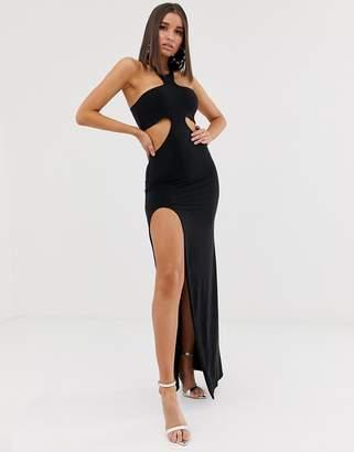 Club L London cutout maxi dress with thigh split in black