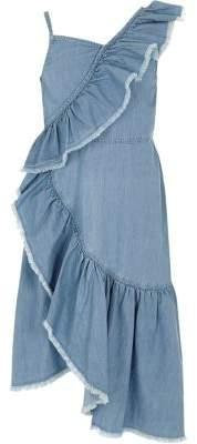 River Island Girls light wash denim asymmetric frill dress