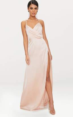 PrettyLittleThing Lucie Champagne Silky Plunge Extreme Split Maxi Dress