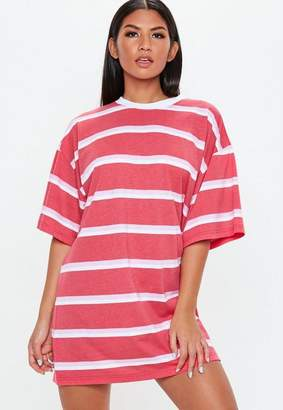 Missguided Pink Oversized Short Sleeve Stripe T Shirt Dress