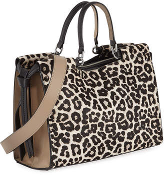 Iconic American Designer Calf Hair Snow Leopard Leather Satchel Bag 176e214a28