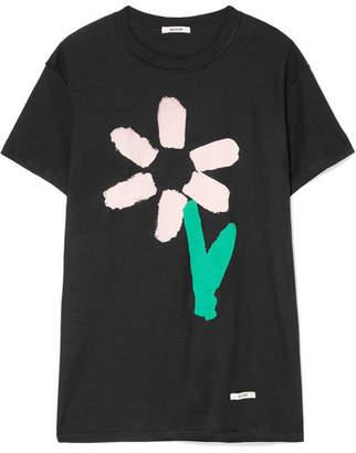 BLOUSE - Slim Pickings Printed Cotton-jersey T-shirt - Black