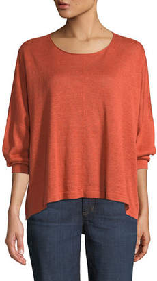 Eileen Fisher Organic Linen Jewel-Neck Box Top
