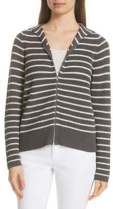 Eileen Fisher Stripe Hemp & Cotton Blend Hooded Cardigan