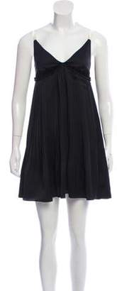 Elizabeth and James Pleated Satin Dress Black Pleated Satin Dress