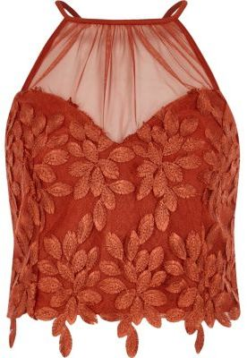 River Island Womens Dark orange leaf lace crop top