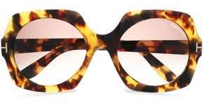 Tom Ford Square-Frame Tortoiseshell Acetate And Gold-Tone Sunglasses