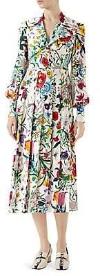 Gucci Women's Floral Print Silk Shirt Dress