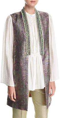 Etro Beaded-Trim Long Metallic Vest