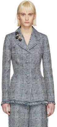 Erdem Blue and White Jacey Single-Breasted Blazer