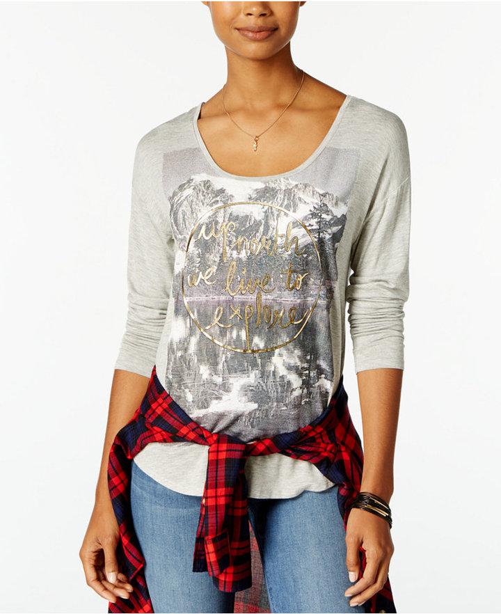 Belle Du Jour Juniors' Explore Metallic Graphic T-Shirt