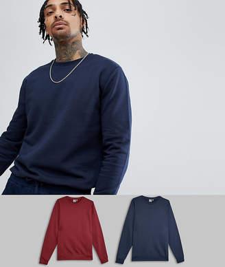 Asos DESIGN sweatshirt 2 pack navy/burgundy