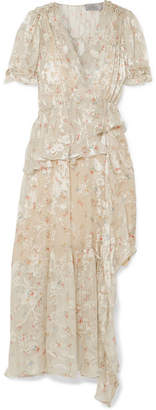 Preen by Thornton Bregazzi Jayma Floral-print Devoré Silk-blend Satin Midi Dress - Neutral