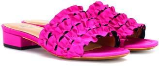 ALEXACHUNG Satin ruffle slippers