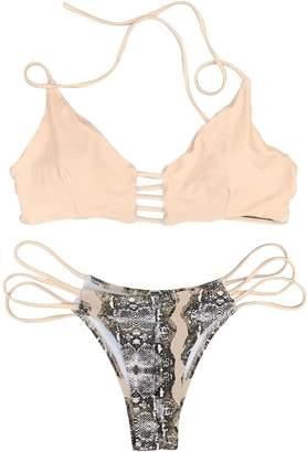 Seaselfie Women's Cheeky Push Up Halter Padding Bikini Sets Small