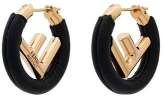 Fendi black F logo leather hoop earrings