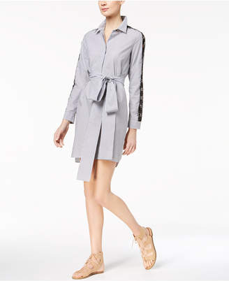 Marella Cotton Poplin Illusion-Lace-Trim Shirtdress