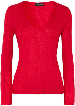 Rag & Bone Donda Ribbed Mohair-blend Sweater - Red