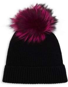 Saks Fifth Avenue Fox Fur Pom-Pom Cashmere Beanie