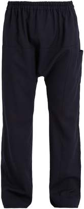 Raf Simons Elasticated-waist wide-leg wool-crepe trousers