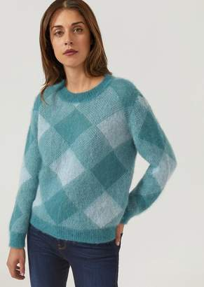 Emporio Armani Sweater With Shaded Lozenge Jacquard Design