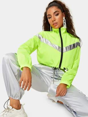 Shein Neon Lime Drawstring Hem Contrast Panel Jacket