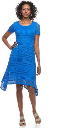 Dana Buchman Women's Lace Shark-Bite Hem Dress