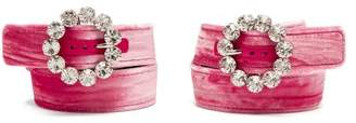 ATTICO Oversized Crystal Buckle Velvet Ankle Straps - Womens - Pink
