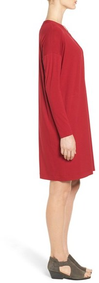 Women's Eileen Fisher V-Neck Stretch Jersey Shift Dress 4
