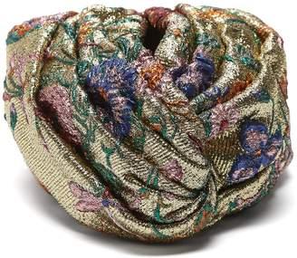 Gucci Metallic floral brocade turban hat