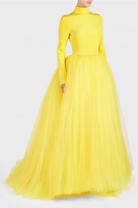 Christian Siriano Long Sleeve Tulle Gown