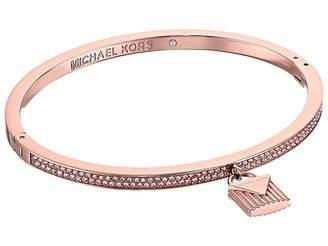 Michael Kors Logo Love Hinge Bracelet with Pave and Ridge Lock Charm