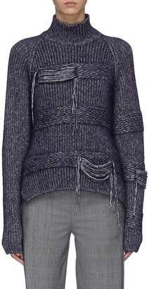 Dolce Vita Mrz 'Dolcevita Flottante' tiered fringe distressed oversized turtleneck sweater