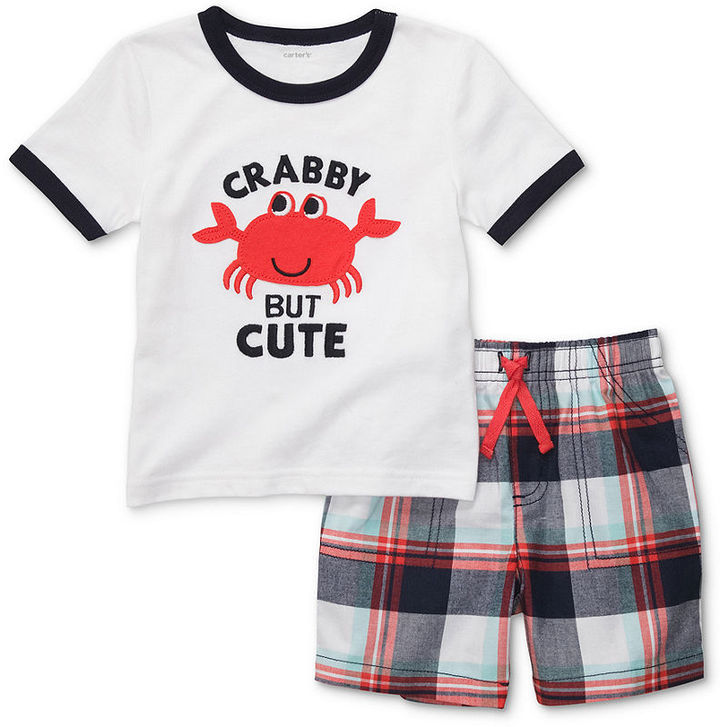Carter's Baby Set, Baby Boys Crabby but Cute Tee and Plaid Shorts
