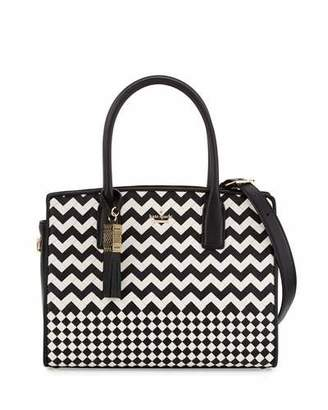 Kate Spade New York Ridley Street Blanca Woven Satchel Bag, Black/Cememt $598 thestylecure.com