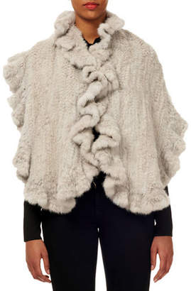 Gorski Mink Fur Knit Stole w/ Ruffled Trim