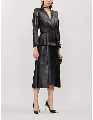 Alexander McQueen Double-breasted peplum-waist leather blazer