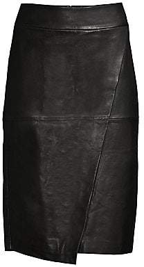 Donna Karan Women's Seamed Leather Pencil Skirt