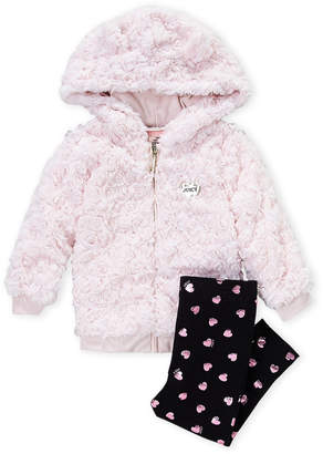 Juicy Couture Infant Girls) Two-Piece Rose Faux Fur Hooded Jacket & Hearts Leggings Set