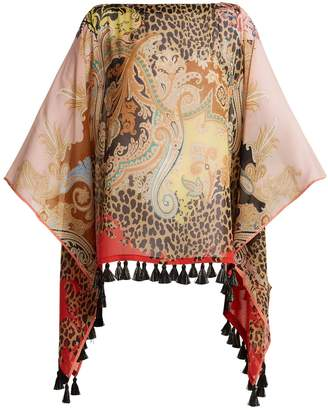 Etro Leopard and paisley-print silk poncho