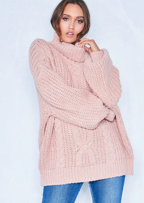 Missy Empire Missyempire Francesca Pink Cable Knit Roll Neck Oversized  Jumper 9bac2b255