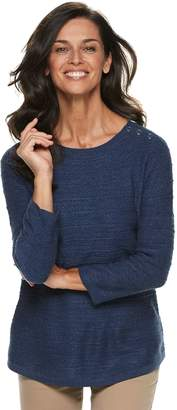 Croft & Barrow Women's Button-Shoulder Crewneck Sweater
