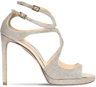 Jimmy Choo 100mm Lance Fine Glittered Sandals