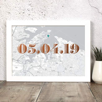 Well Bred Design Personalised Malta Map Print With Date