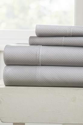 IENJOY HOME Our Elegant My Heart Pattern 4-Piece Sheet Set - Light Gray - Queen