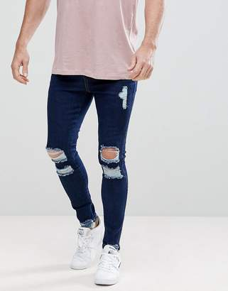 SikSilk Muscle Fit Jeans In Darkwash Blue With Distressing
