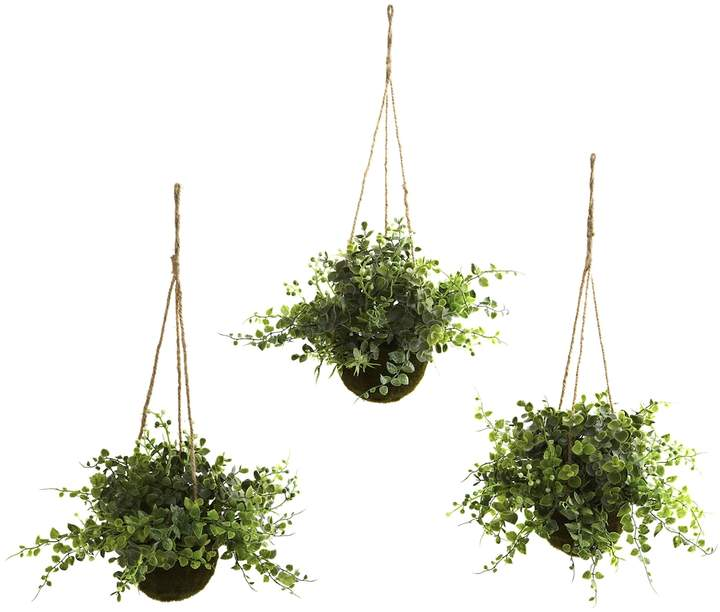 Nearly Natural Eucalyptus, Maiden Hair & Berry Hanging Baskets (Set of 3)