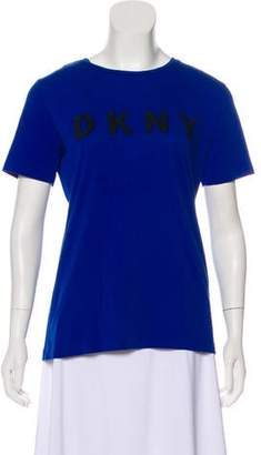 DKNY Logo Embroidered Short Sleeve Top